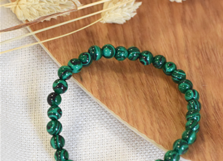 Bracelet en malachite perles de 6 mm