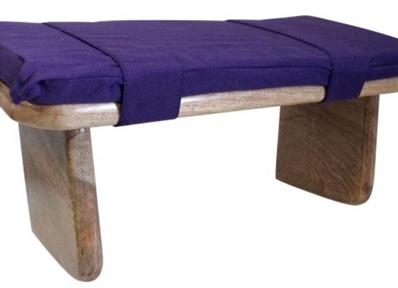 Banc de Méditation en bois avec coussin en Kapok Violet