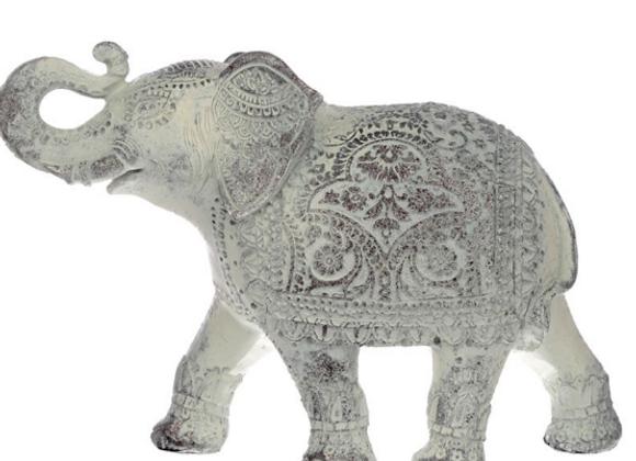 Eléphant Thailandais sculpté à patine blanche