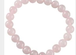 Bracelet Perles Rondes Quartz Rose - 8 mm
