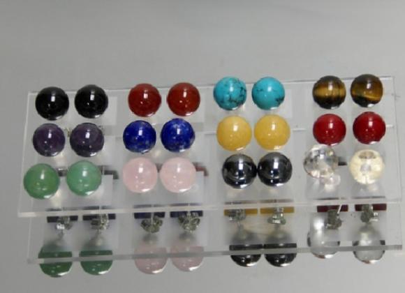 Boucles d'oreilles en pierres semi précieuses perles de 8 mm