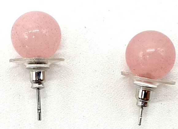 Boucle d'oreille Quartz rose perles 10 mm