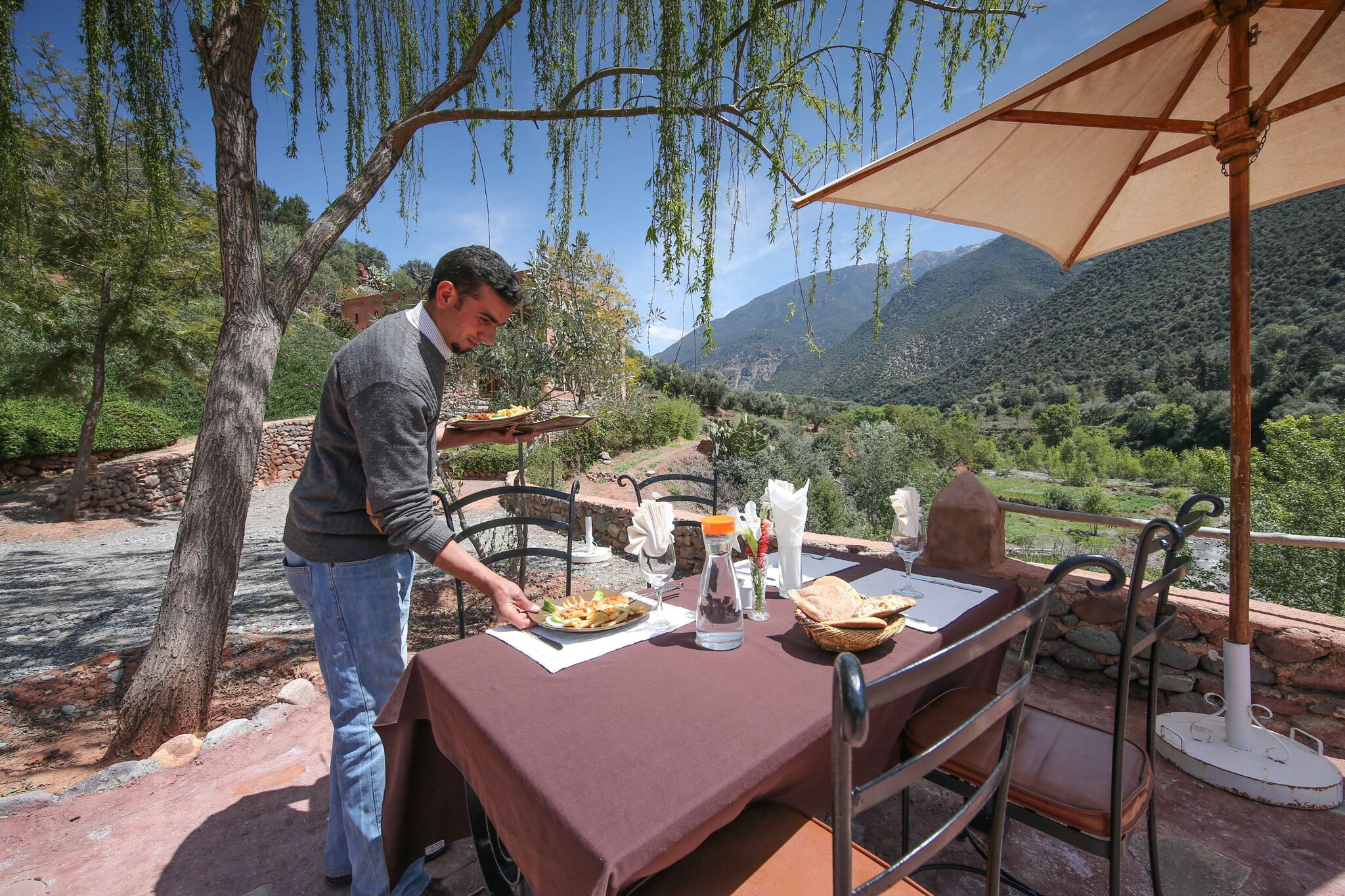 Outdoor dining at the kasbah
