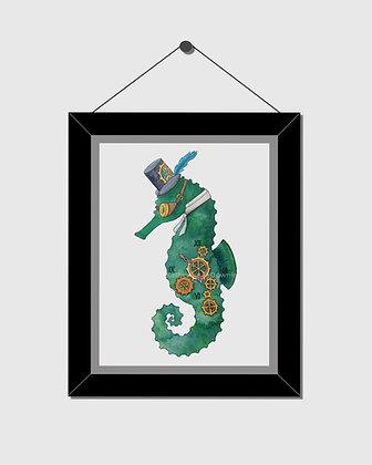 Steampunk Seahorse Watercolor Print