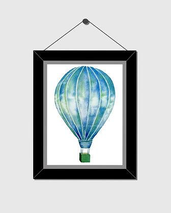 Blue Hot Air Balloon Watercolor Print