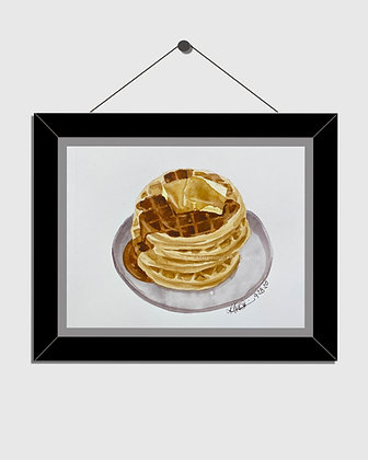 Waffles Watercolor Print