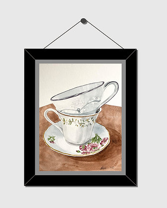 Teacups Watercolor Print