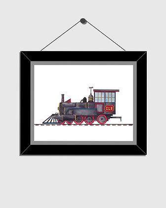 Train Engine Watercolor Print