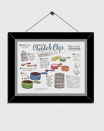 Chocolate Chip Recipe Watercolor Print
