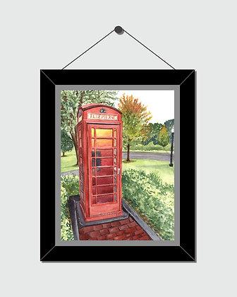 Phone Booth Watercolor Print