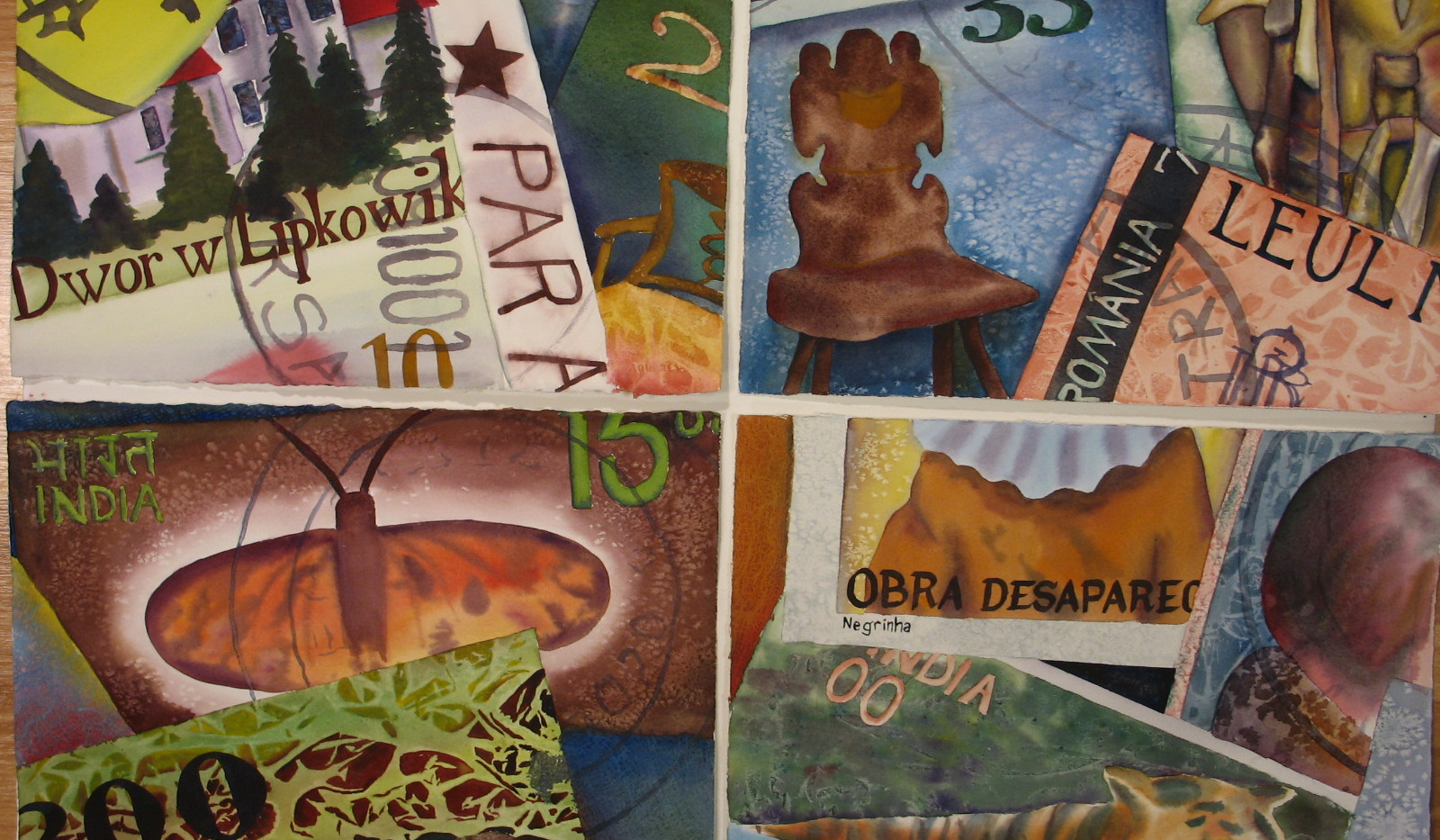 Four Stamp Paintings