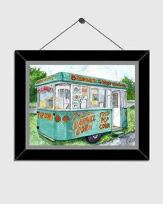 Brownie's Popcorn Wagon Watercolor Print