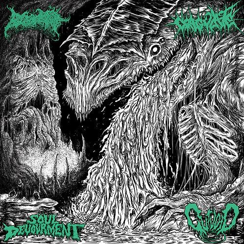 Blood Spore, Coagulate Soul Devourment, Gutvoid - 4 Way Split LP (Splatter Vinyl