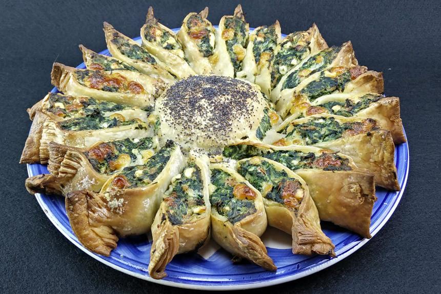 Girasole salato con spinaci, formaggio e prosciutto - SENZA GLUTINE
