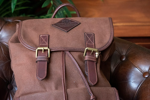 Brown Wax Canvas and leather Rucksack