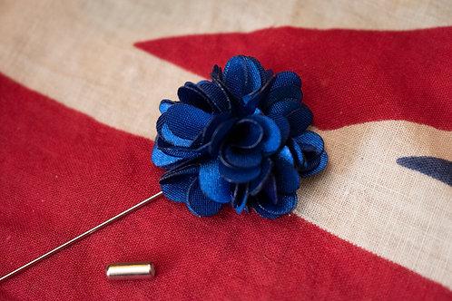 Navy flower lapel pin