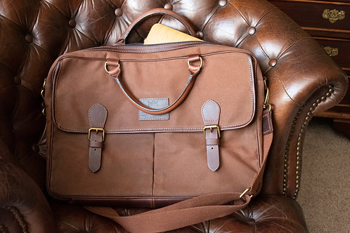 Waxed canvas and leather brief case