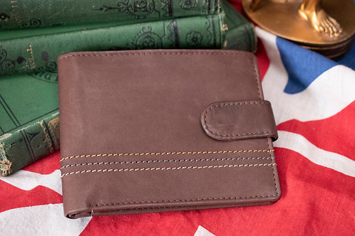 Brown leather wallet with stitching detail