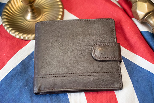Dark brown leather wallet with stitch detailing