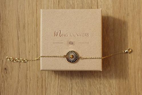 Bracelet solaire MERCI L'UNIVERS - plaqué or / oeil de tigre