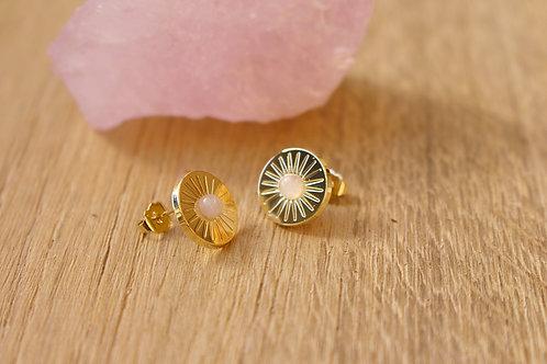 Boucles d'oreilles solaire MERCI L'UNIVERS - plaqué or / quartz rose