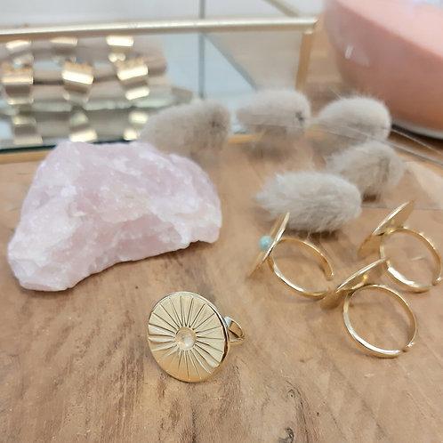 Bague solaire MERCI L'UNIVERS plaqué or / quartz rose