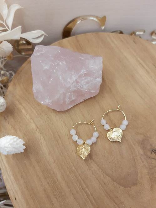 Minis créoles, quartz rose