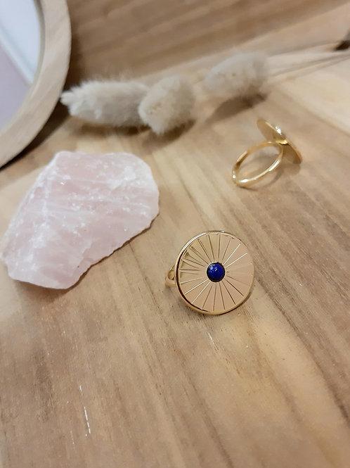 Bague solaire MERCI L'UNIVERS plaqué or / lapis lazuli