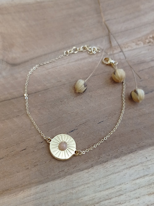 Bracelet solaire MERCI L'UNIVERS - plaqué or /pierre de lune pêche