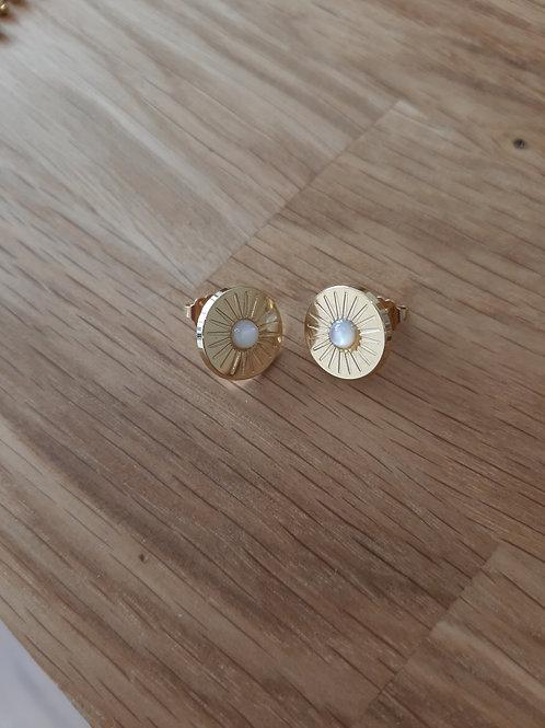Boucles d'oreilles solaire MERCI L'UNIVERS - plaqué or /nacre