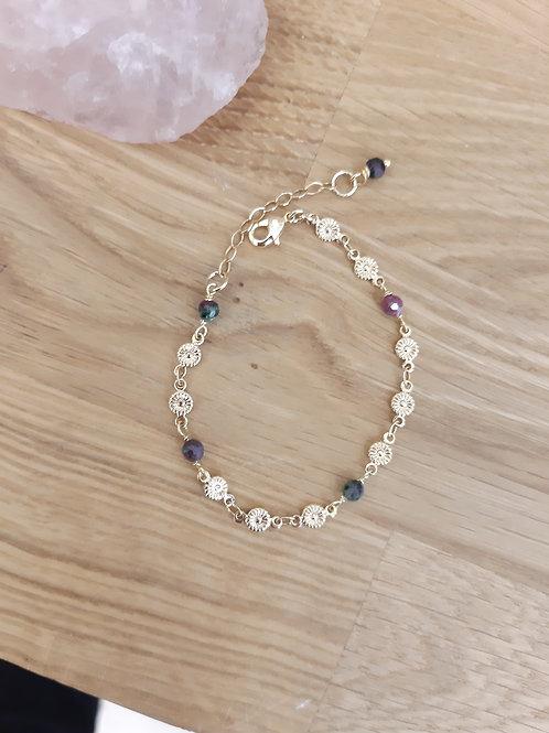 Bracelet PRINTEMPS doré / rubis zoizitte