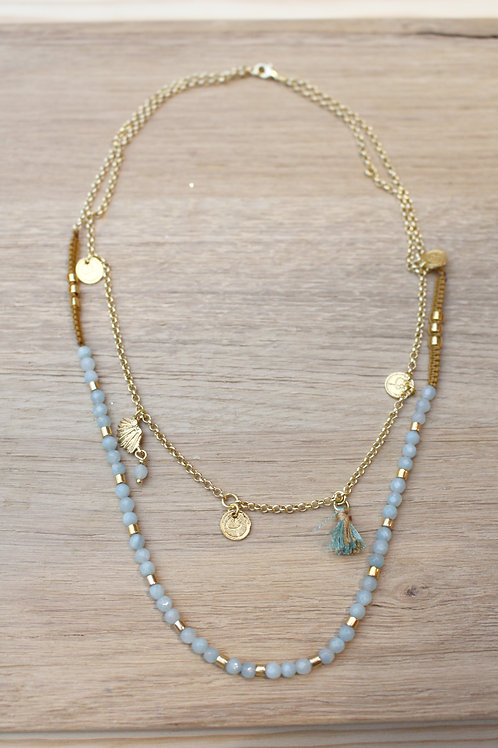 Collier CHAMAN ocre / amazonite