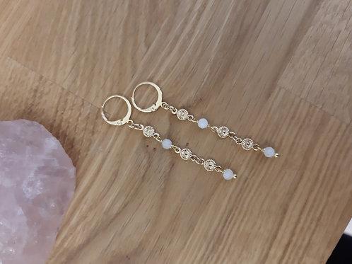 Boucles d'oreilles PRINTEMPS doré / pierre de lune