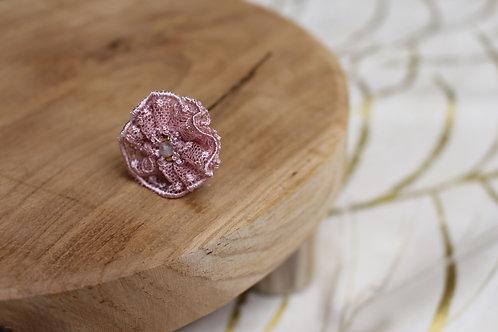 épingle à chignon dentelle rose poudré