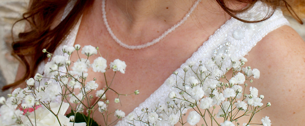 Collier Simply love, quartz rose.