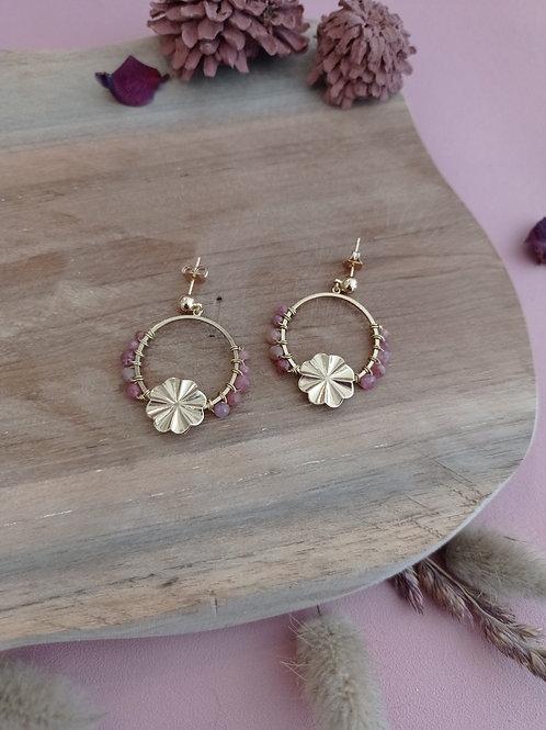Boucles d'oreilles ÉPANOUIE (pm) tourmaline rose