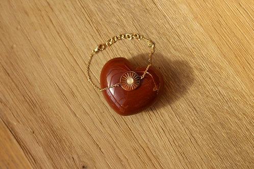 Bracelet solaire MERCI L'UNIVERS - plaqué or / quartz rose