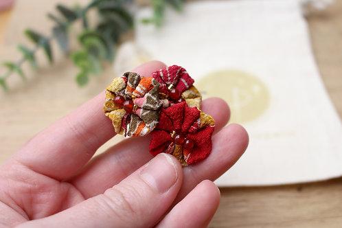 lot 3 épingles à chignon soie japonaise rouge