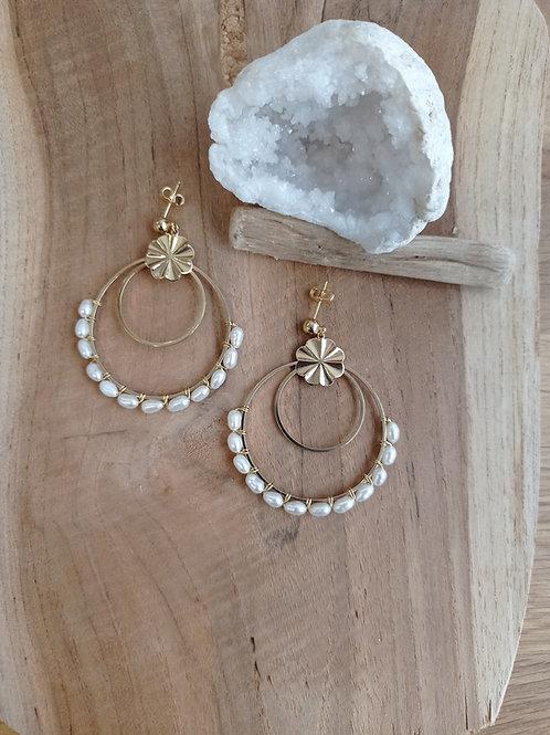 Boucles d'oreilles ÉPANOUIE (gm) perles d'eau douce