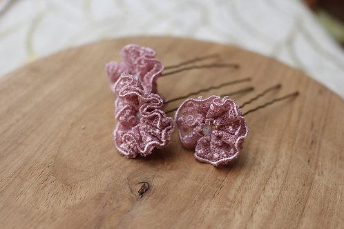 lot 3 épingles à chignon dentelle rose poudré