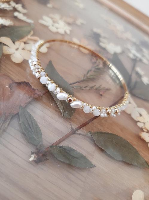 Bracelet Unicité - perles d'eau douce et pierres de lune