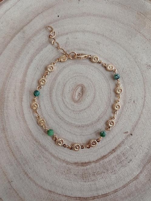 Bracelet PRINTEMPS doré / chrysoprase