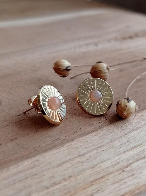 Boucles d'oreilles solaire MERCI L'UNIVERS - plaqué or /Pierre de lune pêche