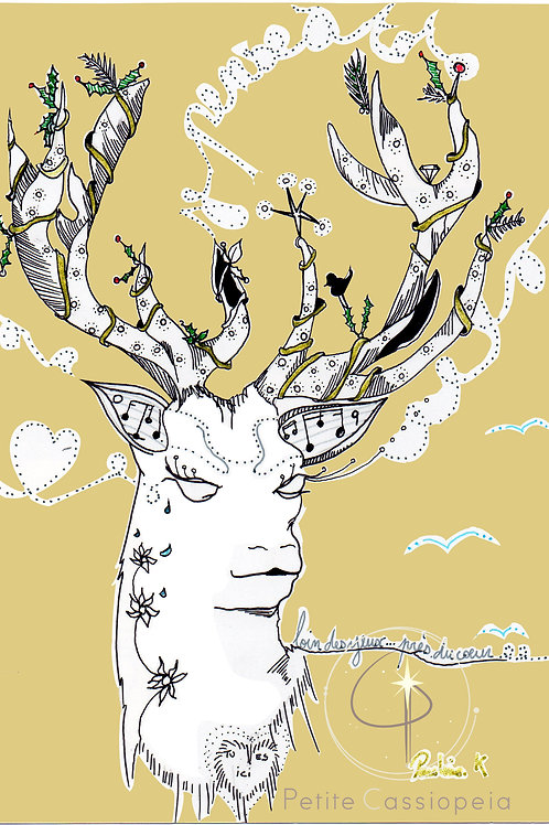 """carte postale A6 """" les bons voeux de Rudolph """""""
