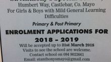 ENROLMENT APPLICATIONS 2018-2019