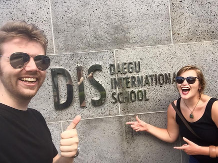 Chris Coleman '16 (Secondary Ed Math) and Lauren Crosby '16 (Secondary Ed English) at Daegu International School.