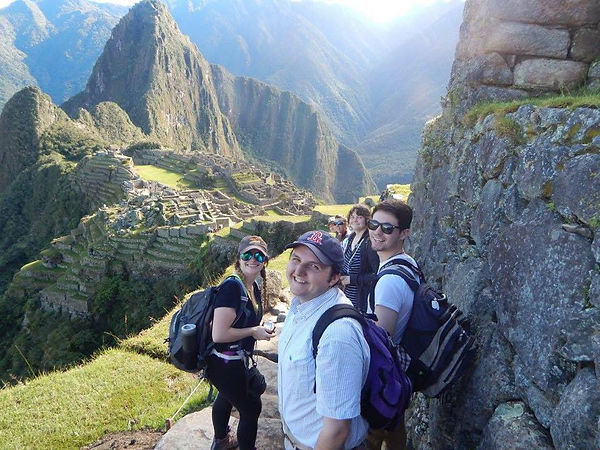 Studets in front of machu pichu