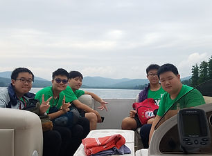 Exchange students on a boat
