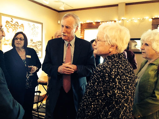 Sen. Angus King (ME-I) discussing U.S. Foreign Policy at UMF during a meeting of the Maine Chapter of the Fulbright Association.