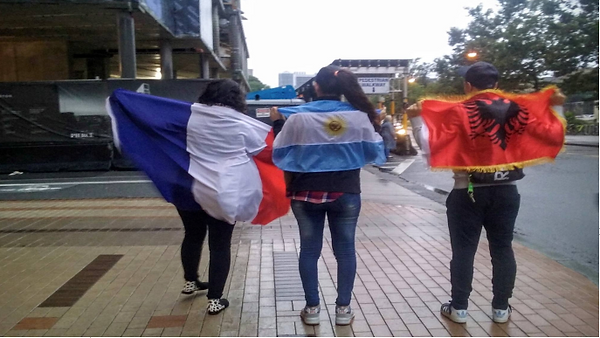 UMF students with their country flags.